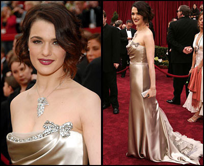 Rachel Weisz in 2007 Oscar party-vera wang